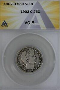 1902-O  .25  ANACS  VG 8  Barber Quarter, Liberty Head Quarter, Barber 25c,