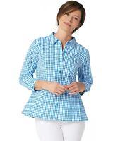 Joan Rivers Womens Seersucker Gingham Shirt with Peplum Hem 16 Blue A347415