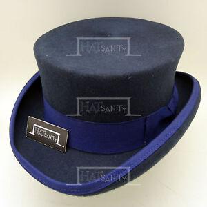 CLASSIC Wool Felt Men Top Hat Coachman Topper Tuxedo Gentlemen | 61cm | Navy