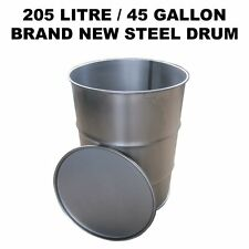 205 LITRE/45 GALLON BRAND NEW STEEL DRUM/BARREL/CONTAINER FOR BBQ SMOKER …
