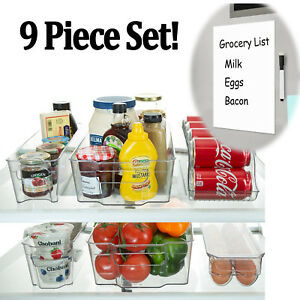 Refrigerator Organizer Bins Stackable Fridge Storage Containers + 8x12 Magnetic