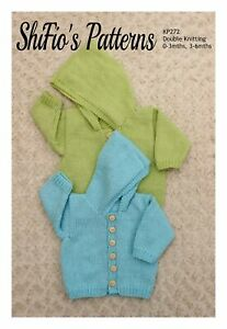 Knitting Pattern for Babies Plain Hooded Jacket, 0 to 3mths and 3 to 6mths, D...