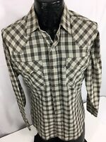 Vtg 70 80's LEVI'S Men Brown PLAID ROCKABILLY Cowboy PEARL SNAP Western Shirt M