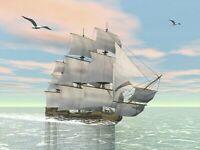 Malen nach Zahlen 40x30cm mit Holzrahmen Leinwand Malset Malvorlagen Schiffe