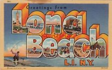 Postcard Large Letters Greetings from Long Beach Li Ny New York
