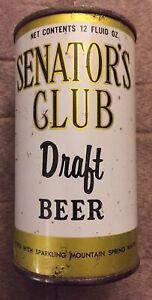 SENATORS CLUB DRAFT FLAT TOP BEER CAN Columbia Brewing Co Shenandoah Reading Pa
