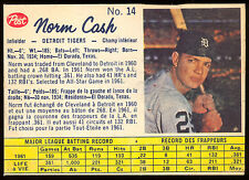1962 POST BASEBALL CANADIAN #14 NORM CASH EX-NM DETROIT TIGERS CARD