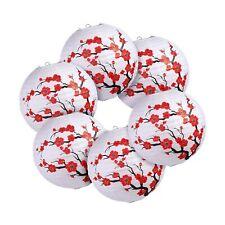 6 Pack Chinese Japanese Red Cherry Flowers Paper Lantern White Round Chinese .