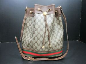 Authentic GUCCI Old Gucci Shoulder Bag PVC Leather Brown 90170