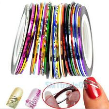 30 Rolls Mixed Colors Striping Tape Line Finger Nail Art Tips Sticker Decoration