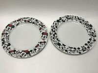 "Disney All Over Mickey Mouse And Minnie Mouse  10.5"" Dinner Plates Set of 2 -NEW"
