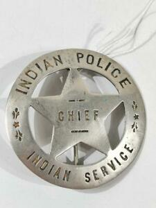 U.S. Indian Police/Indian Service Chief Badge, cupper/non-ferrous and silver pla