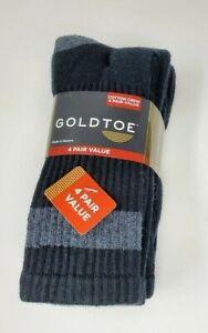 GOLDTOE Mens 4 pack Athletic Cushioned Crew Socks, Black