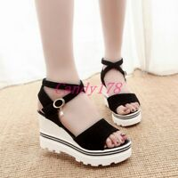 Summer Womens Strappy Cross Strap Wedge High Heel Platform Sandals Shoes Student