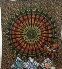 Green peacock Mandala Wall Hanging Bed Cover Hippie Tapestry Queen Bedspread Art