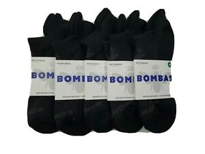 New Genuine BOMBA 5 Lot  Pack Women M Black Blister Tab Ankle Socks