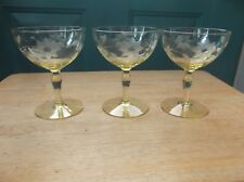 Three Lancaster Glass Jubilee Yellow Topaz Depression Champagne Sherbets