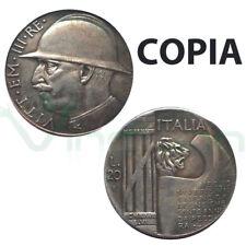 Copia moneta collezione 20 Lire 1928 ITALIA Vittorio Emanuele III LEONE LITTORIO
