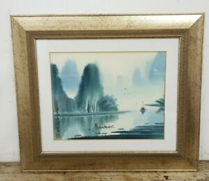 Framed Signed Japanese Watercolour Painting of Fishing Boats