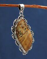 925 Sterling Silver Jewelry Picture Jasper Gemstone Handmade Designer Pendant