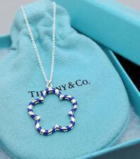 NEW Tiffany & Co. Paloma Palina Blue Enamel Star Flower Pendant 18 Silver 925