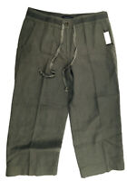 TALBOTS Sage Green Pure Irish Linen Wide Leg Cropped Capri Pants Sz 6 Lagenlook