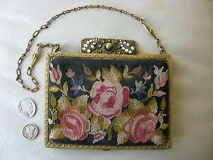 Antique Gold Enamel Jewel Frame Silk Forbidden Stitch Floral Embroidery Purse #4