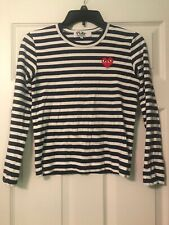 play comme des garcons S Navy Striped Shirt Red Heart