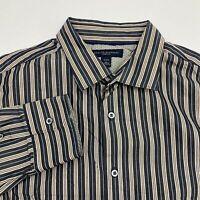 Banana Republic Button Up Dress Shirt Men's 16-16.5 Long Sleeve Tan Gray Striped