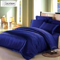 LILYSILK 19 Momme Seamless 100% Pure Mulberry Silk Duvet Cover Blue All Sizes
