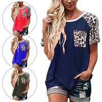 Women Leopard Short Sleeve Loose T Shirts Ladies Summer Casual Blouse Tops Shirt