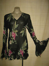 NEW Designer Esterhazy sheer chiffon long sleeve floral ruffle TOP sz S rrp $149