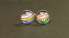 The Caped Crusader, Batman and Robin inspired comic glass domed cufflinks
