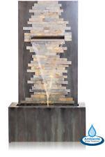 1m Wasserfall Gartenbrunnen Wasserspiel Stein Zink LED Beleuchtung Ambiente