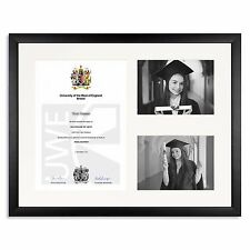 Matt Black Graduation Degree Award Diploma Frame with 7x5inch photos real WOOD