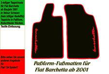 Fußmatten für Fiat Barchetta ab 2001  VELOUR! Schwarz Logo Rot