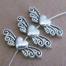 20pc Tibetan Silver Love Heart Angel wings Spacer Beads retro Wholesale P197