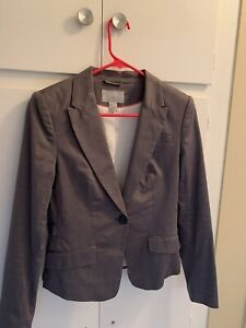 H&M Womens Suit Jacket Blazer Gray one Button sz6 NEW wo Tags FAST SHIPPING