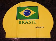 New AQUALIS Yellow BRASIL BRAZIL FLAG Latex Swim Cap - Swimming