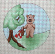 Vintage Hand Painted Christmas Ornament Needlepoint Canvas ~ Picnic Bear