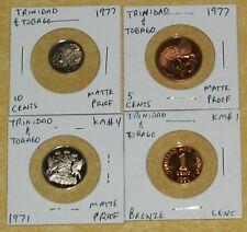 TRINIDAD TOBAGO CAMEO MATTE COIN 1971 1977 2007 LOW MINT 1 5 10 25 CENT FM RARE