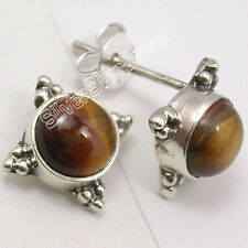 925 SOLID Silver BROWN TIGER'S EYE UNISEX BEAUTIFUL LOVELY Stud Earrings 0.5""