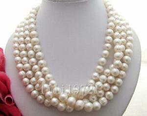 """BEAUTIFUL 68"""" 9-10MM WHITE SOUTH SEA BAROQUE PEARL NECKLACE"""
