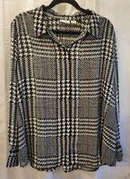 Liz Claiborne Woman 1X Long Sleeve Polyester Black White Purple Button Up Shirt