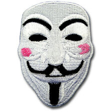 Vendetta Anonymous Guy Fawkes Mask Embroidered Patch Iron on Punk Harley Biker D