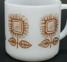 Vintage Federal Milk Glass Sunflower Coffee Cup Mug Connoisseur D Handle, Brown