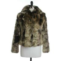 Timeless NEW Womens XS Brown Combo Chic Faux Fur Hook & Eye Fully Lined Collar