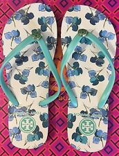 L@@K! ON SALE Size 6 NEW Tory Burch Thin Flip Flops Printed Sandals Flats Green
