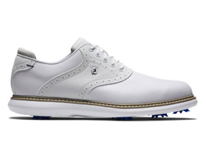 Footjoy Traditions Golf Shoes White & Blue -  Medium Fit Waterproof NEW