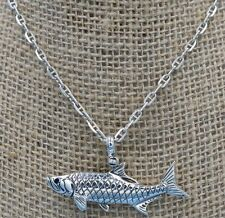 .925 Sterling Silver Tarpon Necklace With Sapphire Eye